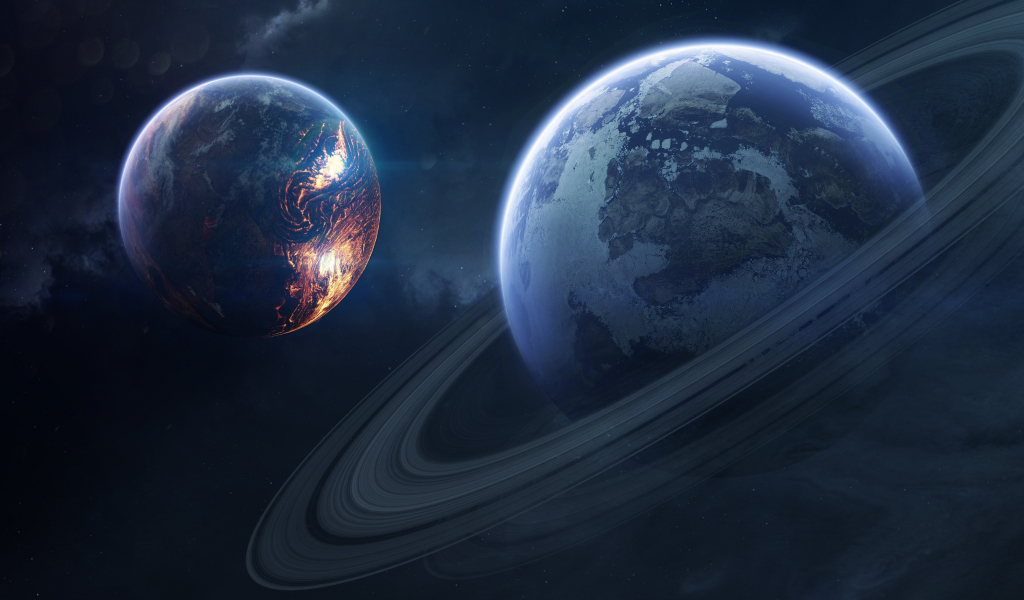 Saturn, space, planet of rings, 1024x600 wallpaper