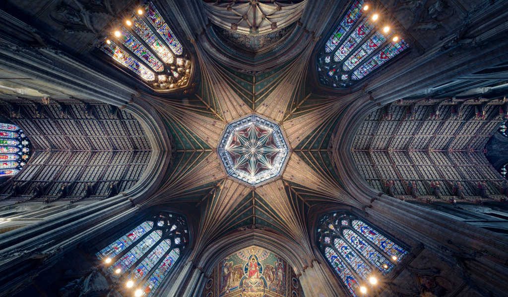 Ceiling, cathedral, symmetrical interior, architecture, 1024x600 wallpaper
