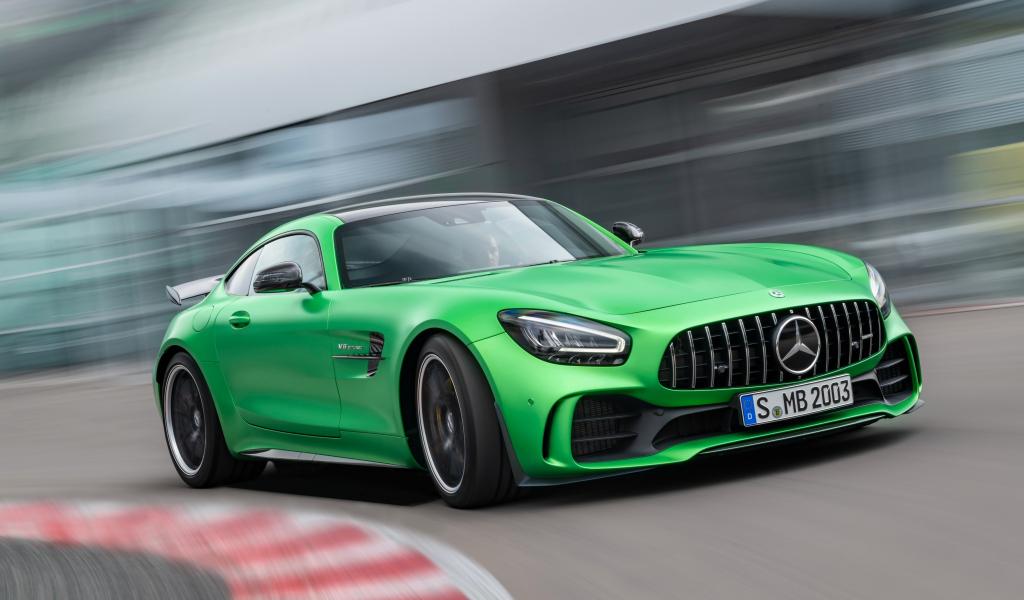 Mercedes-AMG GT, green car, on-road, 1024x600 wallpaper