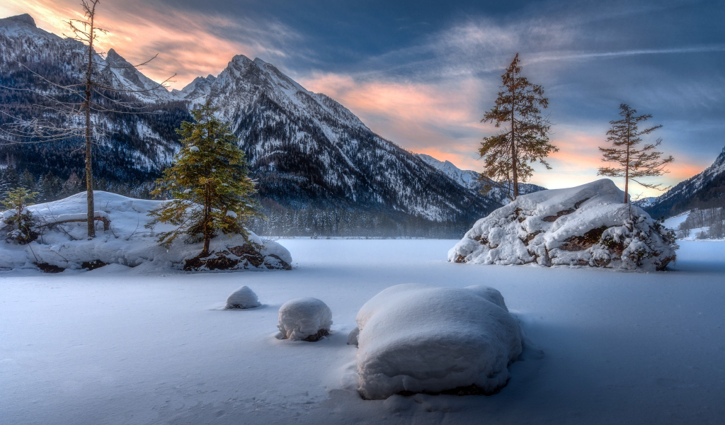Landscape, mountains, winter, sunset, 1024x600 wallpaper