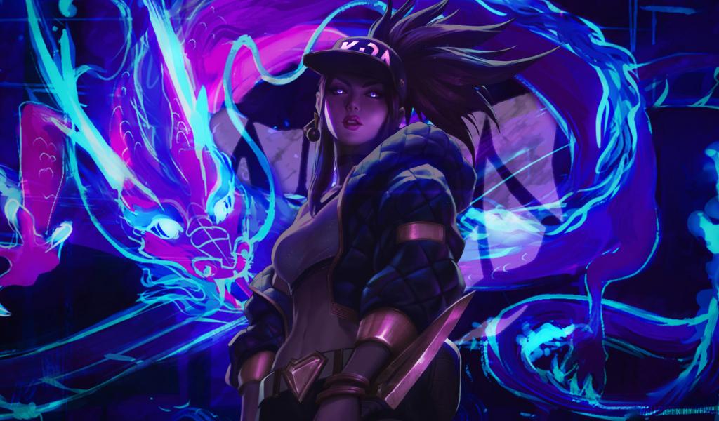 Neon art, League of Legends, Akali, art, 1024x600 wallpaper