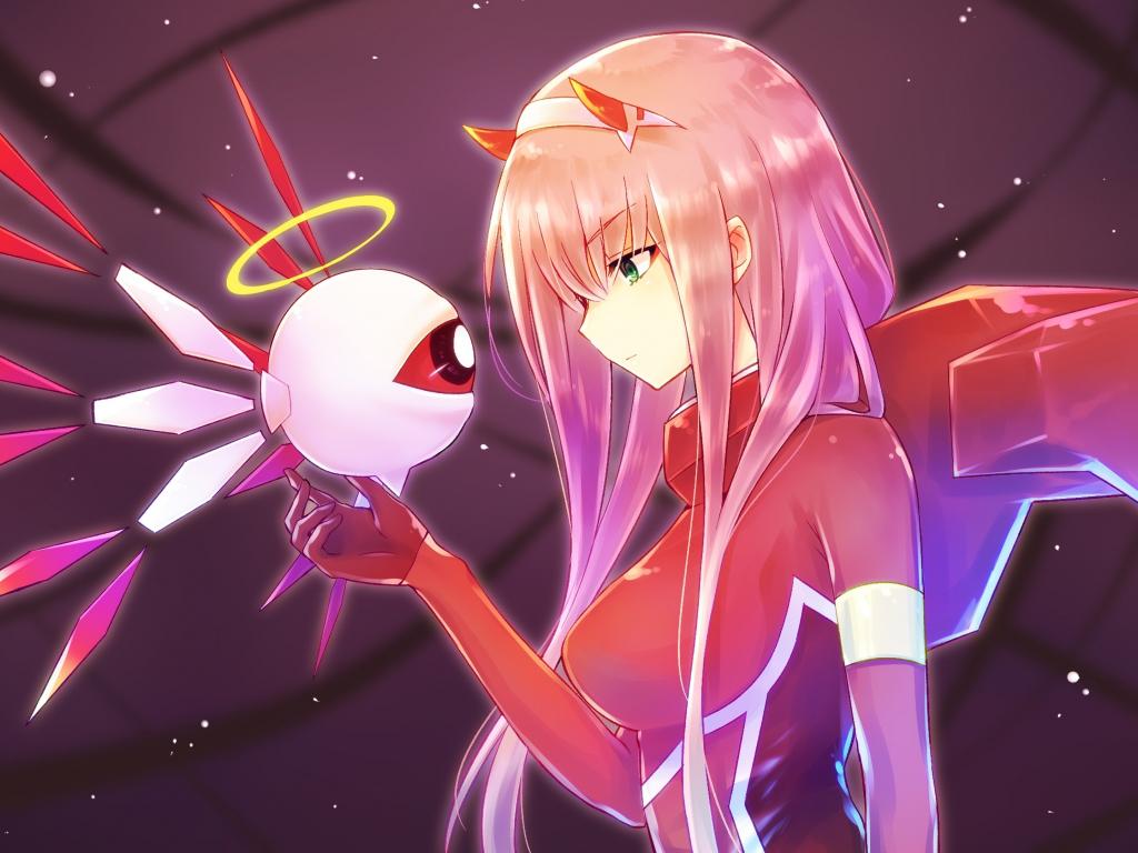 Desktop wallpaper anime girl, robot, zero two, long hair ...