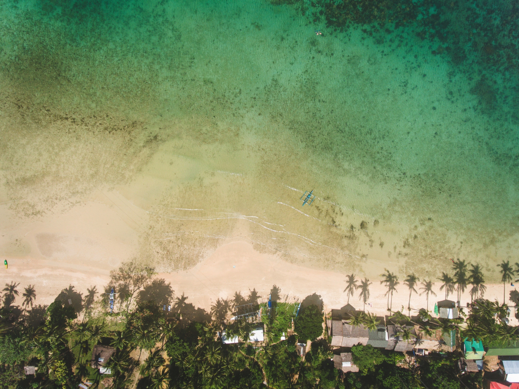 4k Girls Redmi Note 5 Mobile Wallpaper: Desktop Wallpaper Green, Beach, Aerial View, Hd Image
