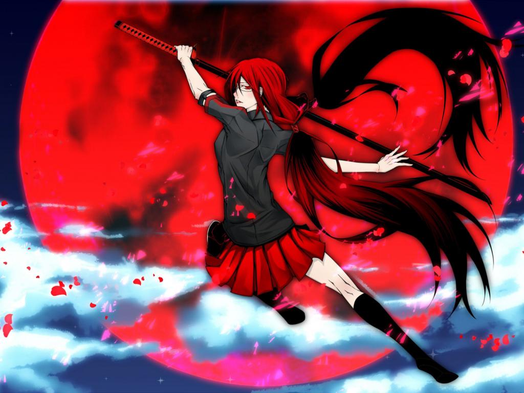 Desktop wallpaper warrior, saya kisaragi, blood c, anime girl, hd ...