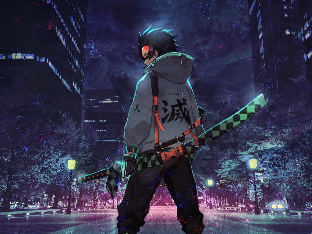 Desktop wallpaper urban ninja, anime, art, hd image ...