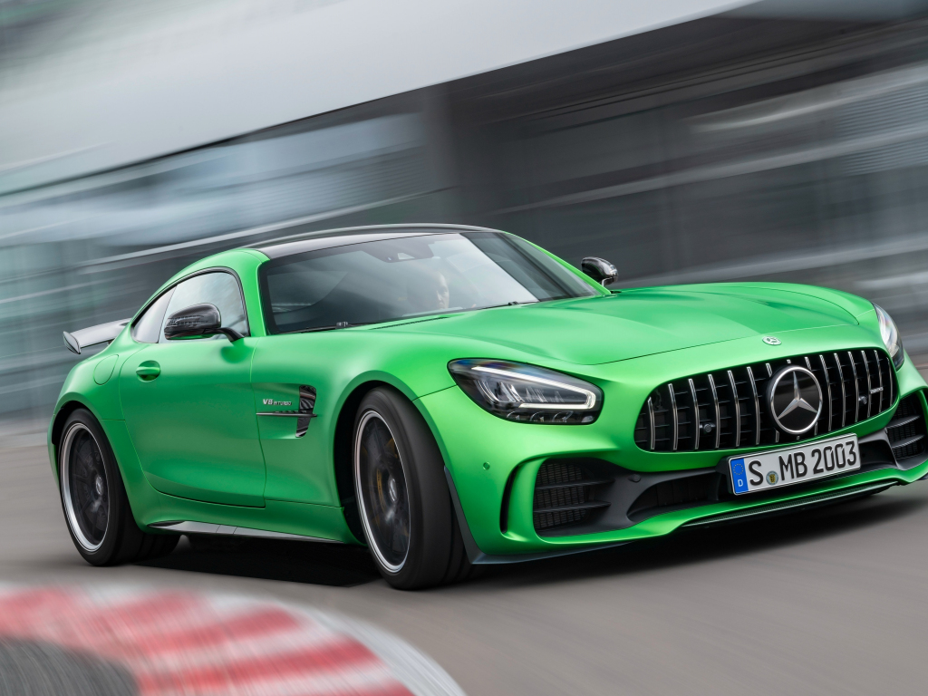 Mercedes-AMG GT, green car, on-road, 1024x768 wallpaper