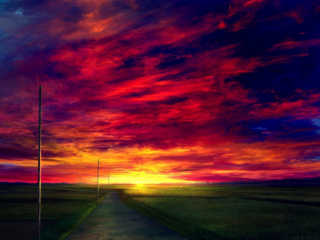 Desktop Wallpaper Sunset Road Landscape Anime Clouds Hd Image Picture Background 892c17