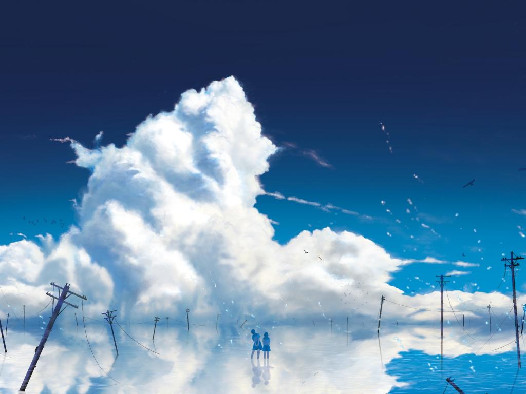 Anime girls, outdoor, clouds, 1024x768 wallpaper