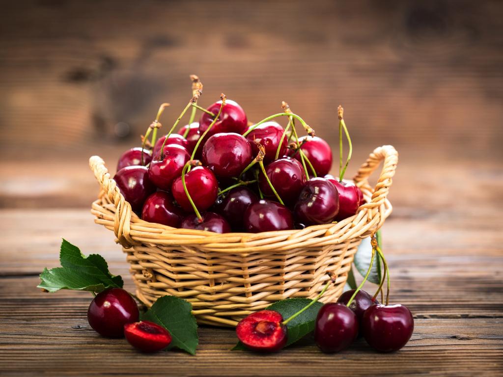 Desktop Wallpaper Cherry  Fruits Basket  Ripen  Hd Image  Picture  Background  D11a22