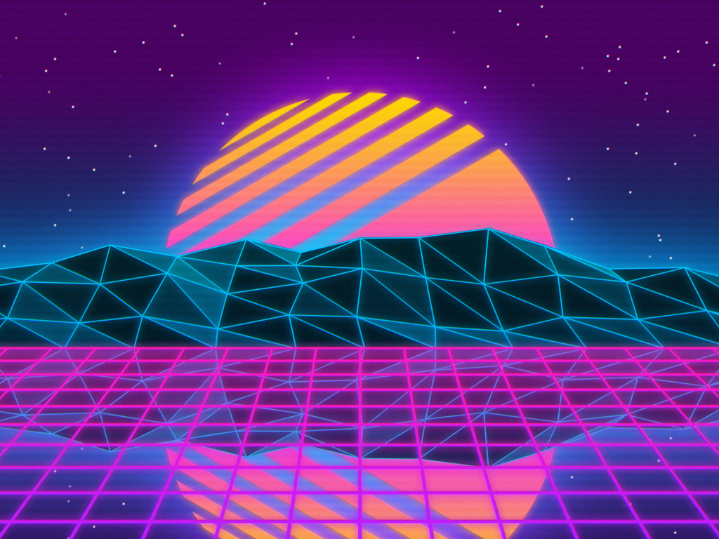 Desktop wallpaper vaporwave, retro, sun, mountains ...