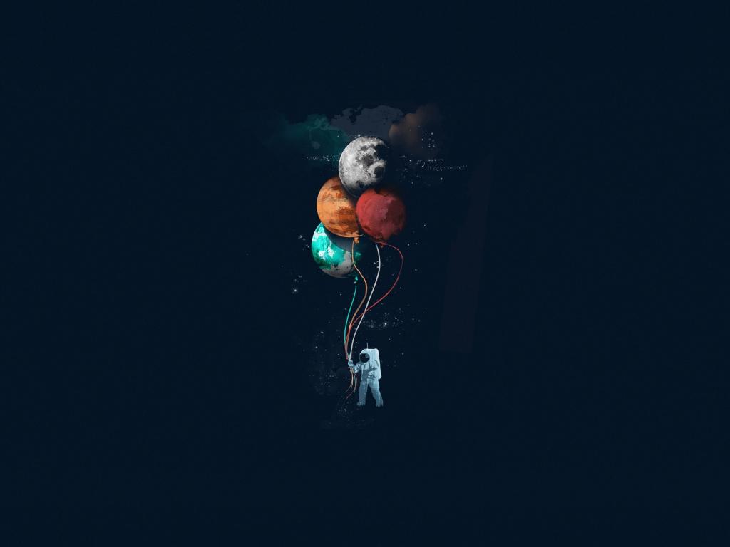 Desktop wallpaper astronaut, balloons, space, minimal, art ...