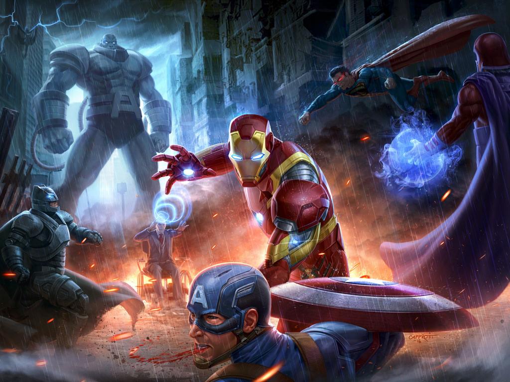 Desktop wallpaper superheroes fight marvel avengers vs justice league dc comics hd image - Marvel and dc wallpapers ...