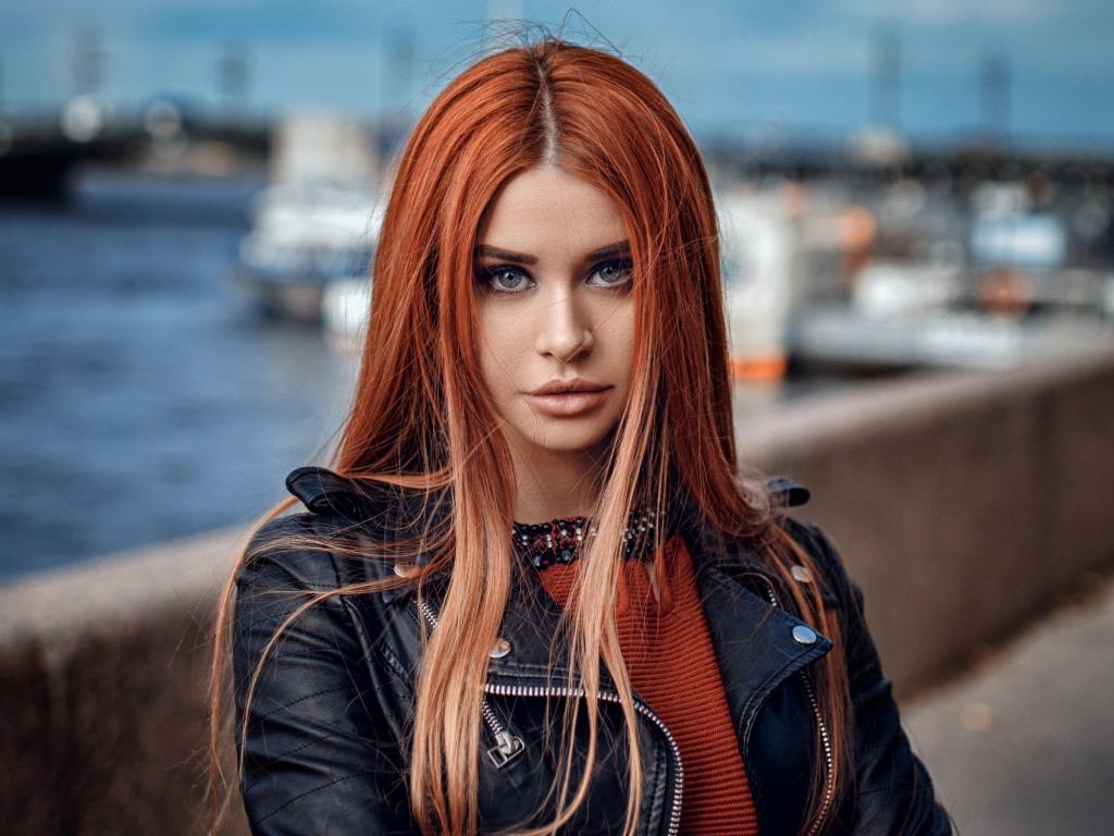 Desktop Wallpaper Redhead Leather Jacket Girl Model