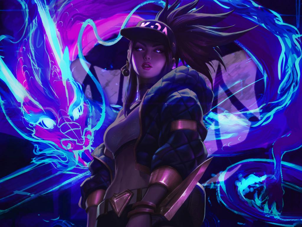 Neon art, League of Legends, Akali, art, 1024x768 wallpaper