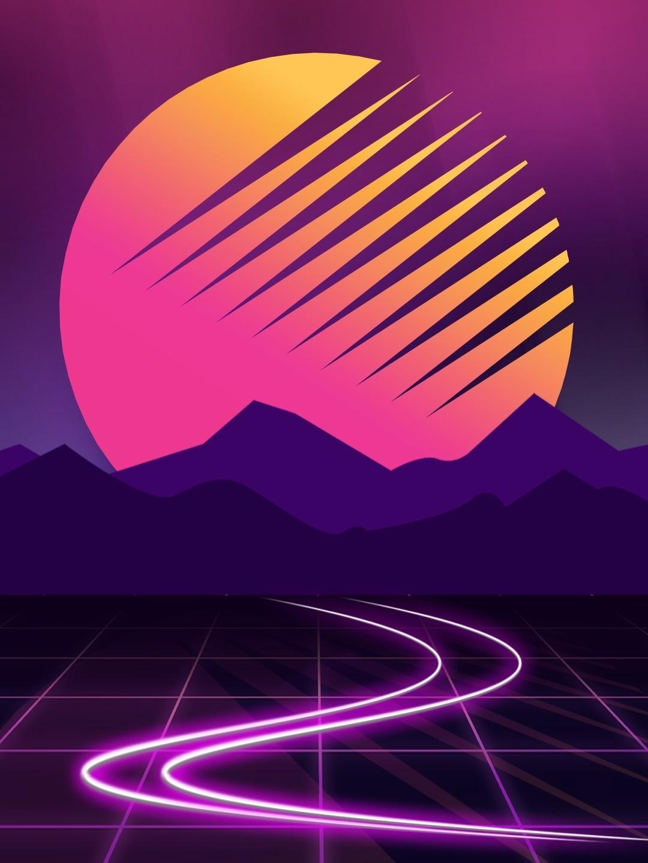 Neon Cyberwave Purple Mountains Moon Outrun 1080x1920 Wallpaper