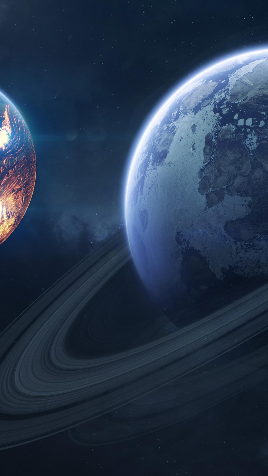 Saturn, space, planet of rings, 1080x1920 wallpaper