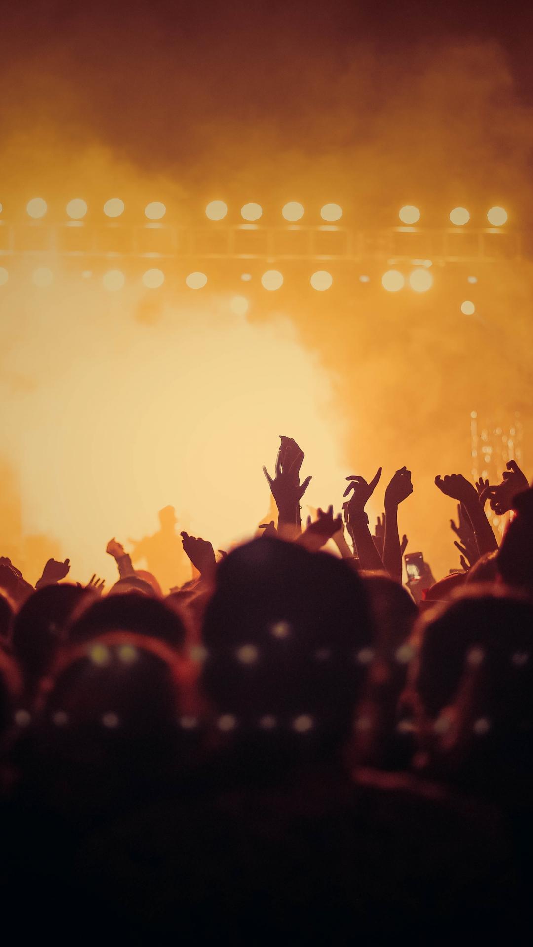 Concert, hands up, joy, dark, party, 1080x1920 wallpaper