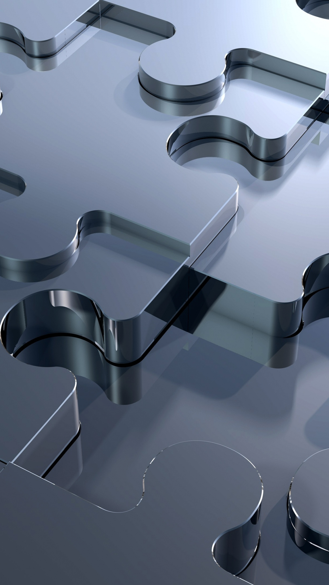 Download 1080x1920 wallpaper 3d, silver, missing piece, puzzle