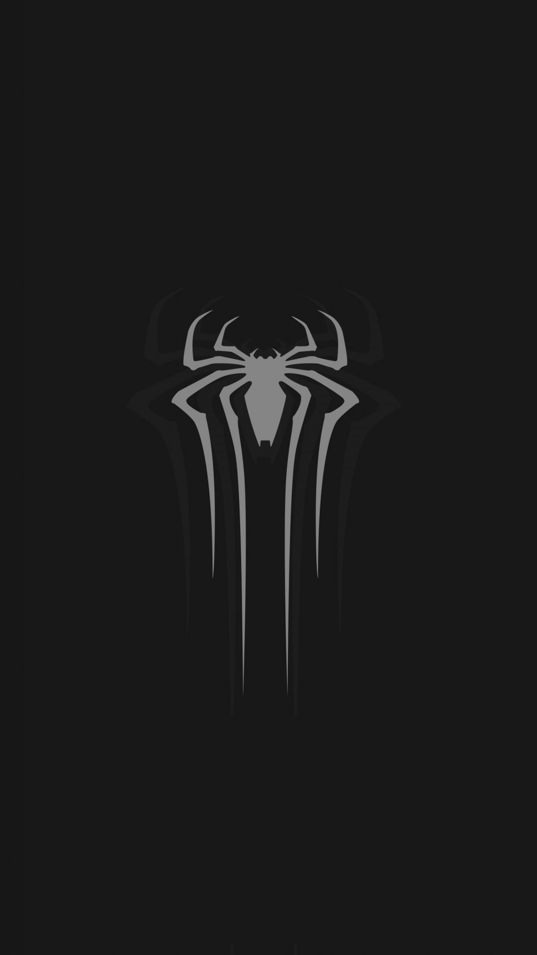 Download 1080x1920 Wallpaper Logo Gray Spider Man Minimal Dark