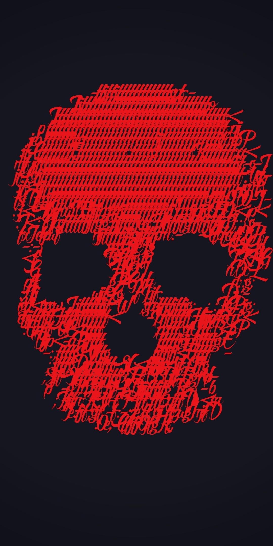 Download 1080x2160 Wallpaper Skull Glitch Art Minimal Dark Red