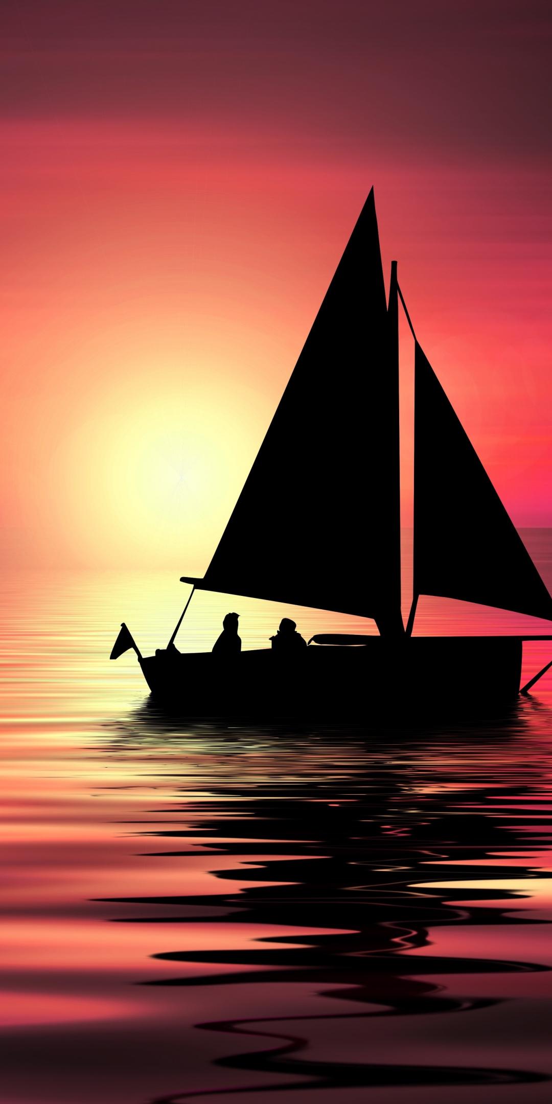 Artwork, sailboat, sunset, silhouette, 1080x2160 wallpaper