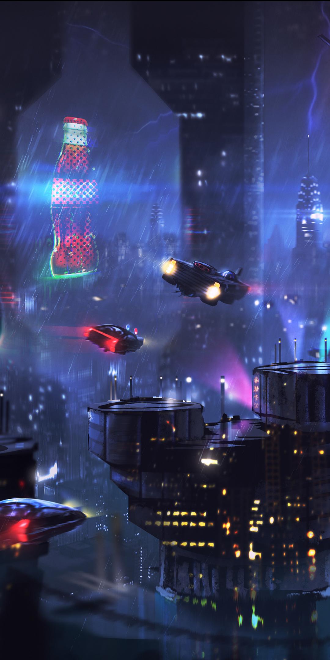 Download 1080x2160 wallpaper cyberpunk, dark, cityscape ...