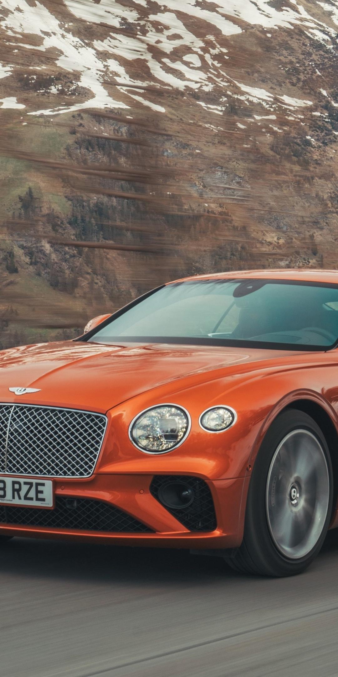 Orange, Bentley Continental GT, 1080x2160 wallpaper