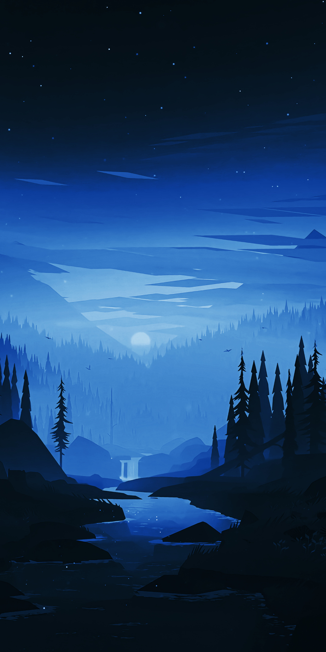 Download 1080x2160 Wallpaper Dark Night River Forest