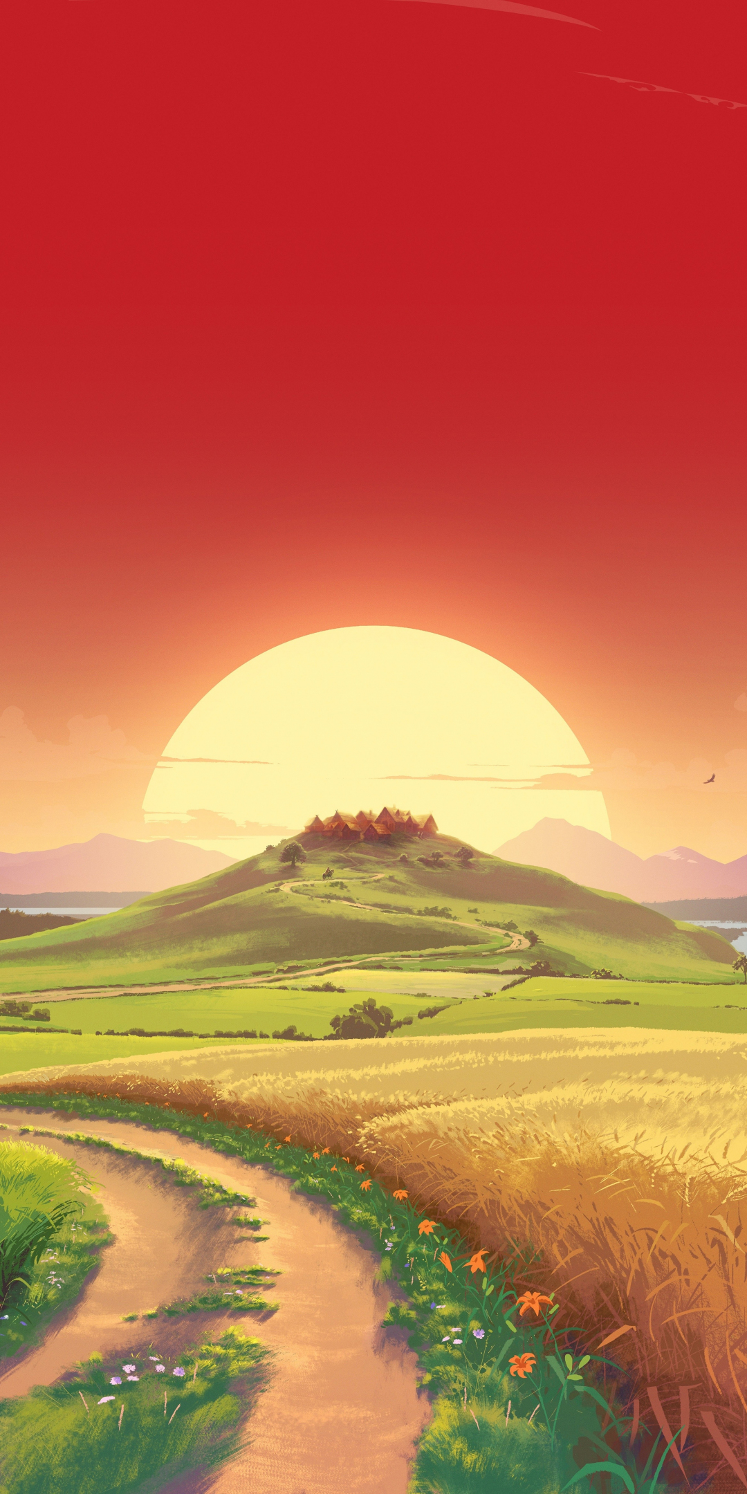 Download 1080x2160 Wallpaper Landscape Sunset Orange Sky Pathway Art Honor 7x Honor 9 Lite Honor View 10 Hd Image Background 16056