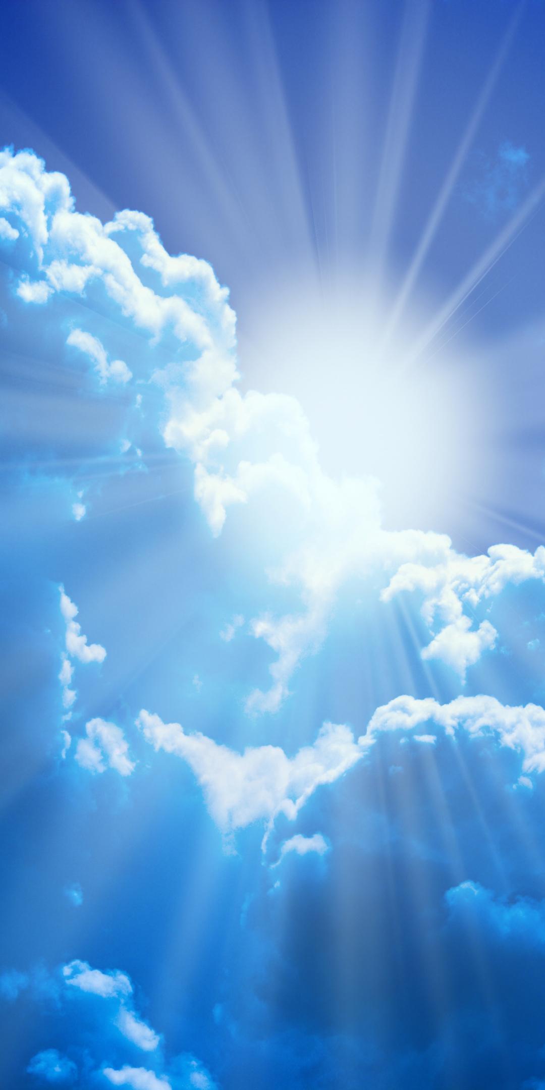 Download 1080x2160 wallpaper blue sky, clouds, sunlight ...