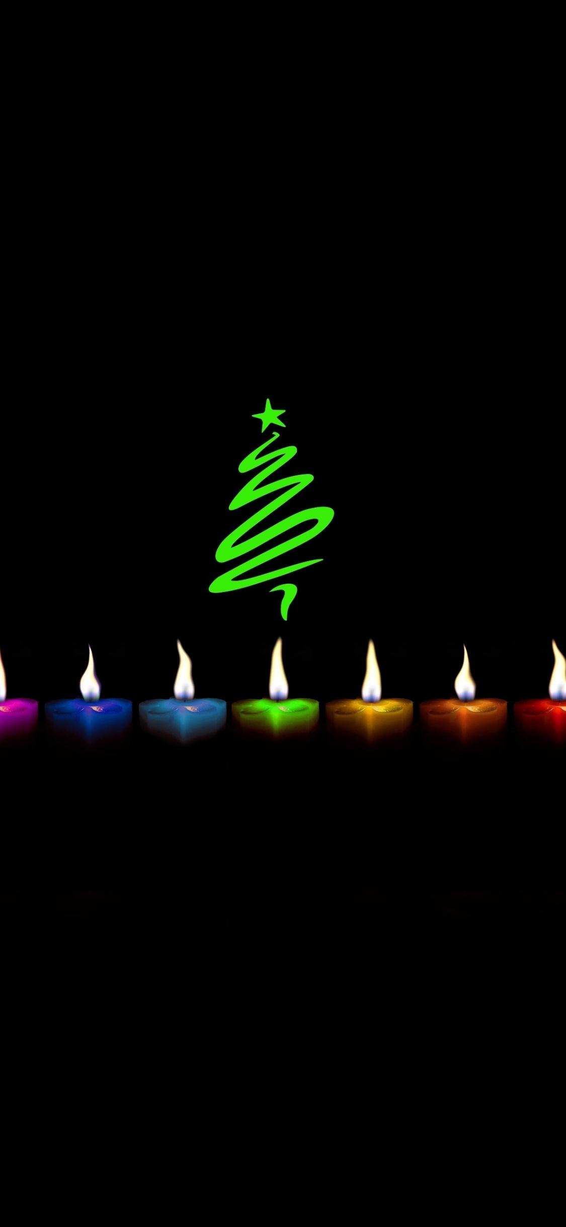 Download 1125x2436 Wallpaper Minimal Candles Christmas