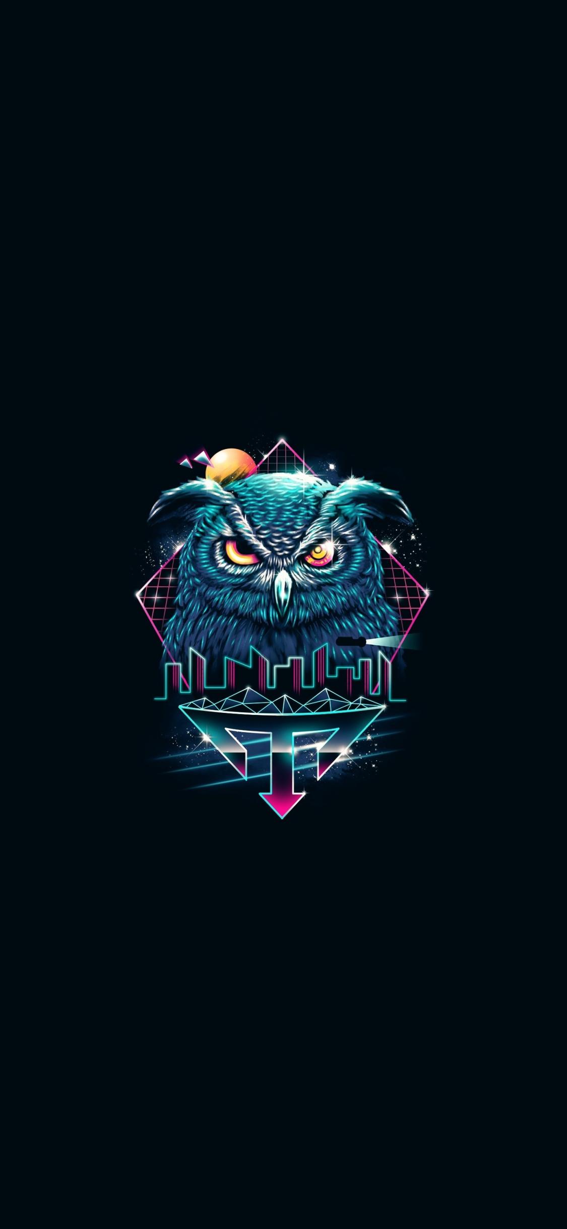 Download 1125x2436 Wallpaper Minimal Attitude Owl Retro Art