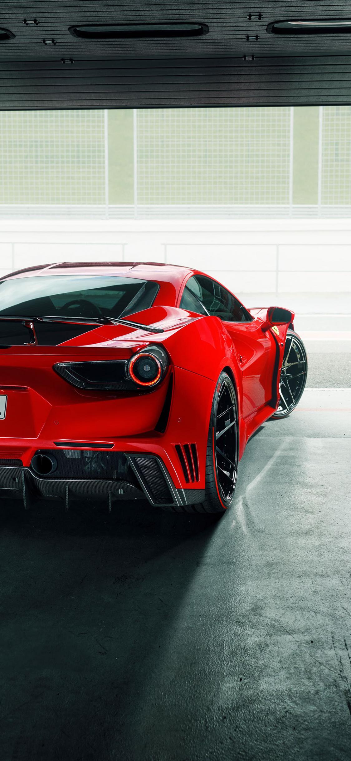 Download 1125x2436 Wallpaper Ferrari 488 Gtb Sports Car Rear
