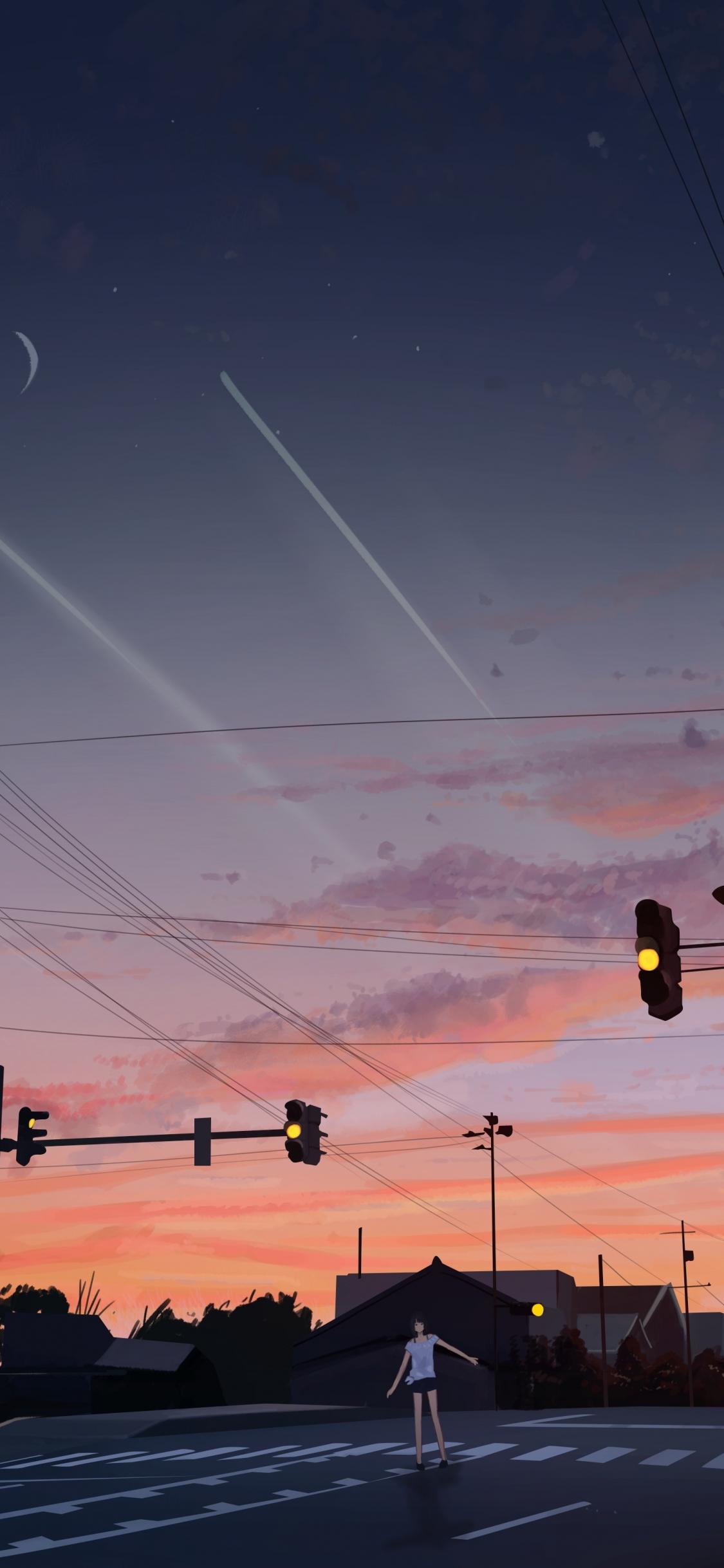 Download 1125x2436 Wallpaper Sunset Street Original Anime