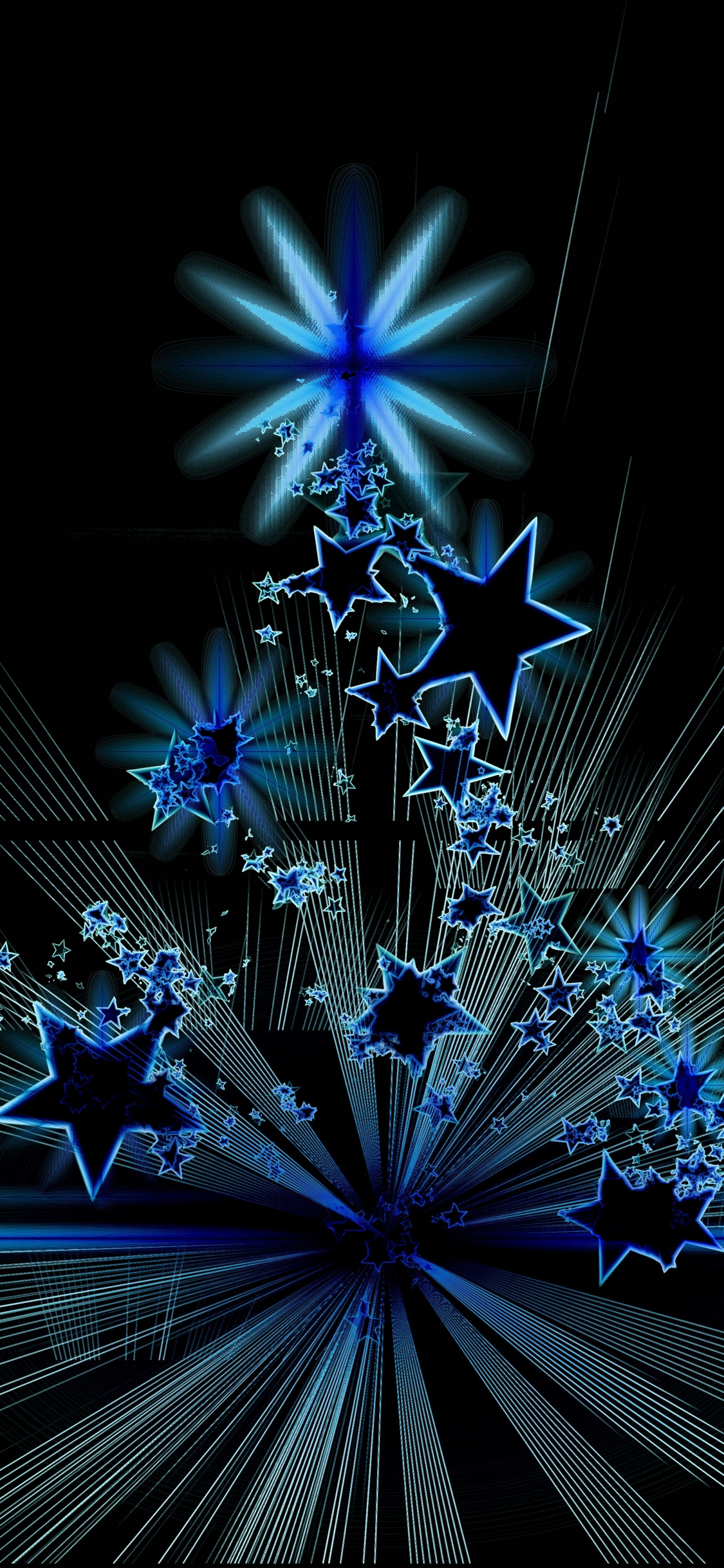 Download 1125x2436 Wallpaper Christmas Tree Stars Abstract