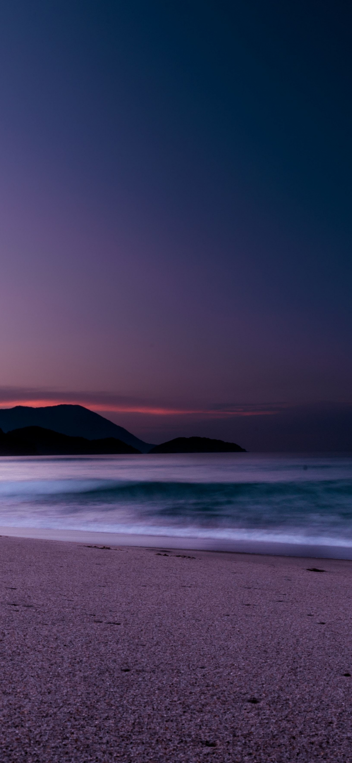 Download 1125x2436 Wallpaper Calm Beach Purple Sunset Iphone X