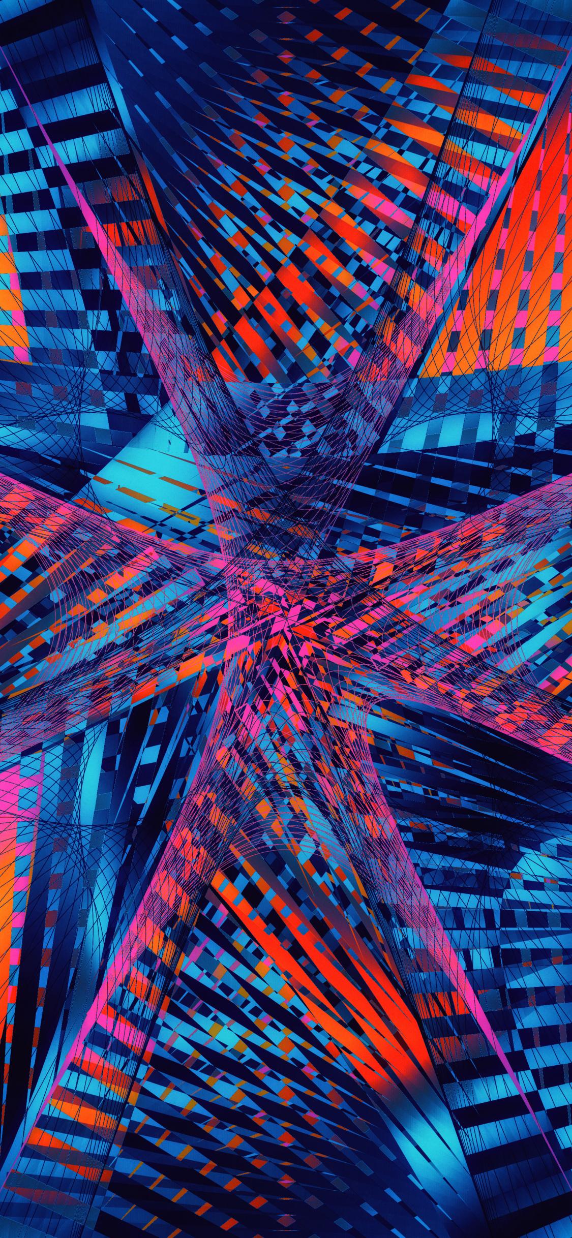 Download 1125x2436 Wallpaper Fractal Pattern Lines Glitch