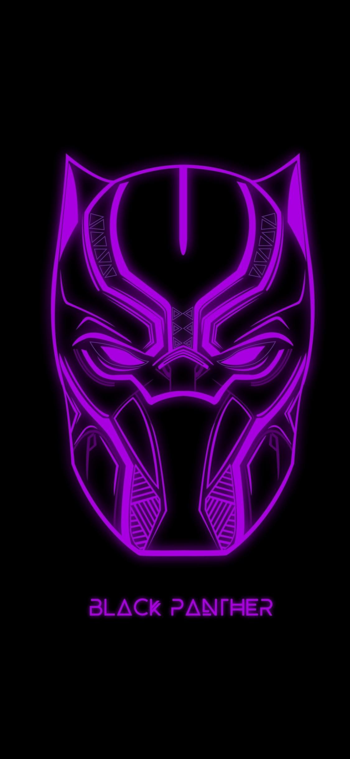 Download 1125x2436 Wallpaper Black Panther Glowing Mask