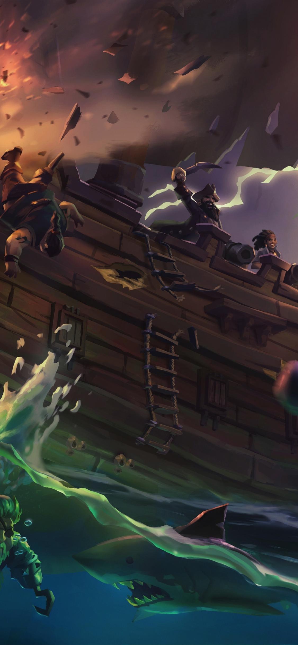 Download 1125x2436 Wallpaper Sea Of Thieves Ship Pirates