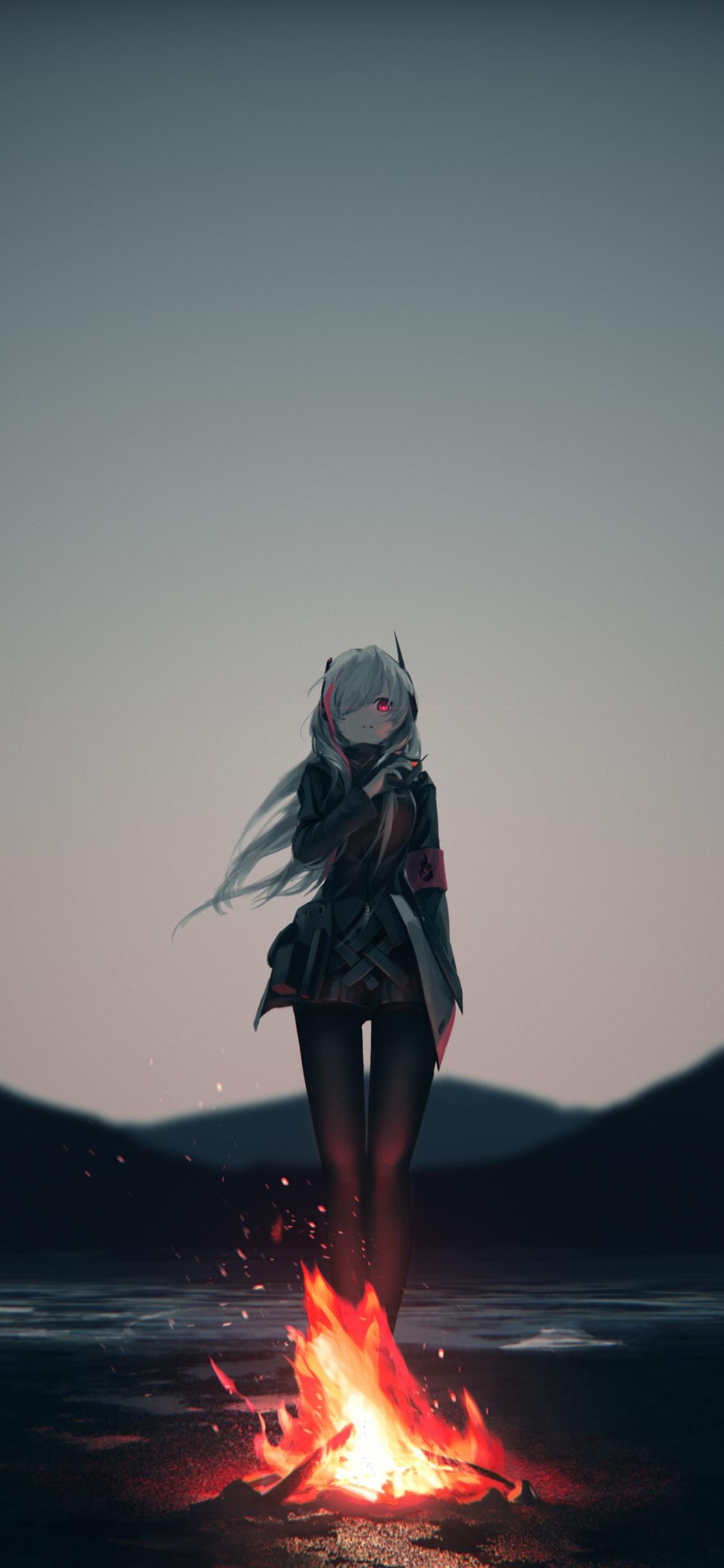 Download 1125x2436 Wallpaper Anime Girl Campfire Outdoor Original
