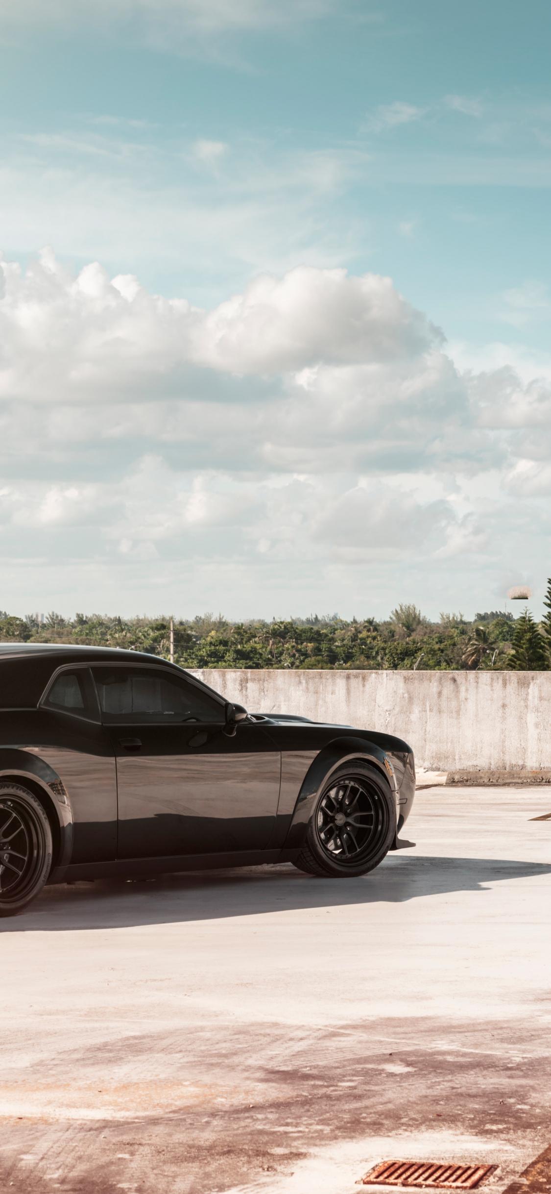 Download 1125x2436 Wallpaper Black Dodge Challenger Srt Muscle Car 2019 Iphone X 1125x2436 Hd Image Background 21486