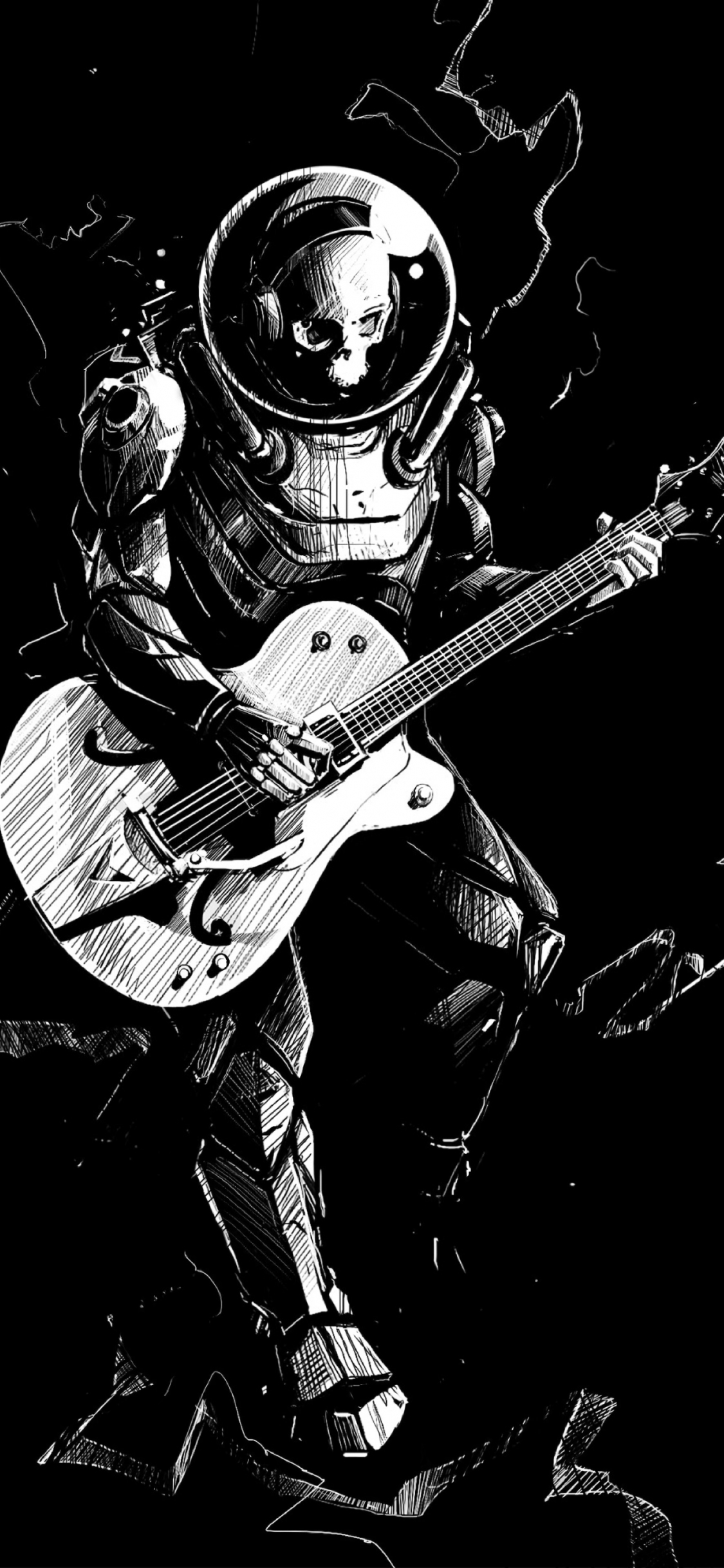 Download 1125x2436 Wallpaper Art Skeleton Guitar Play Music Bw Iphone X 1125x2436 Hd Image Background 17880
