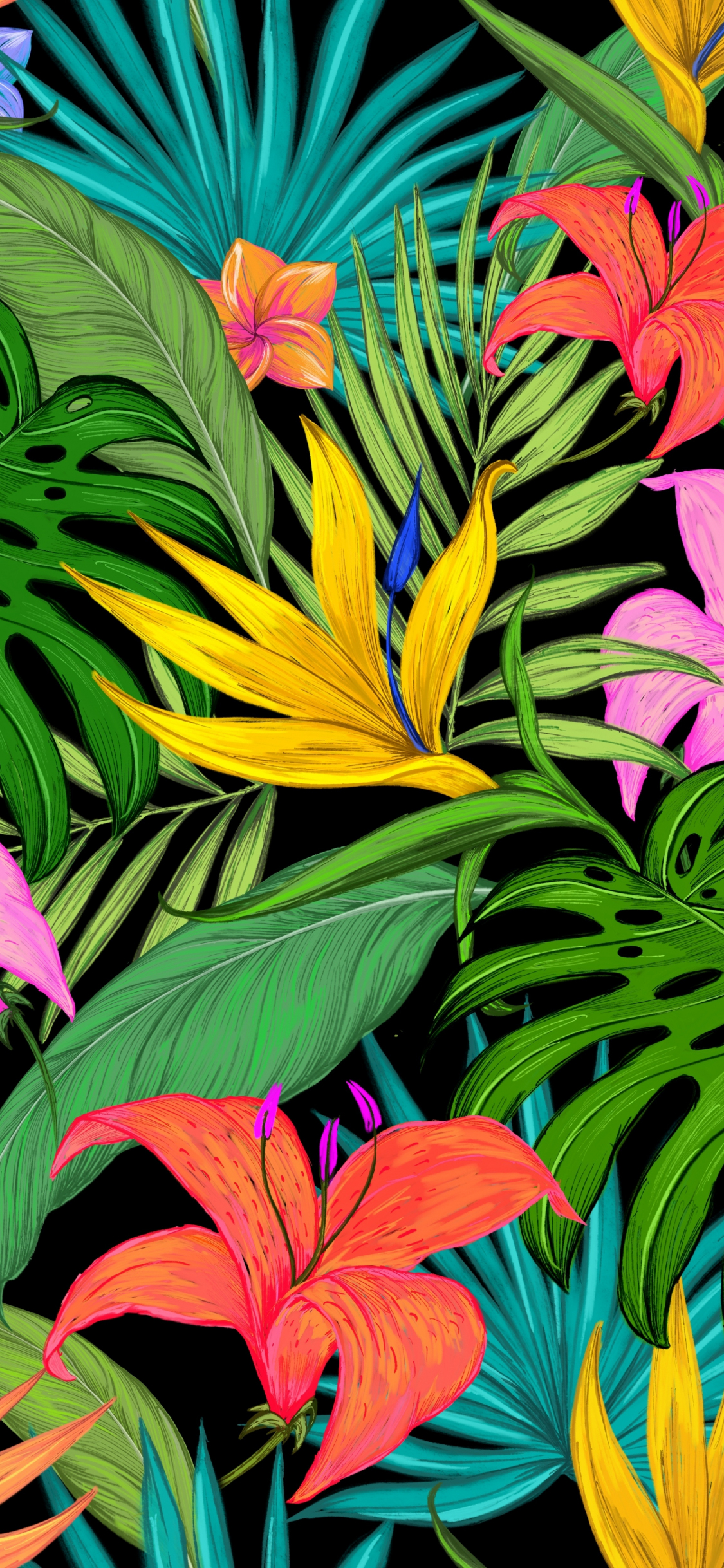 Download 1125x2436 Wallpaper Pattern Tropical Flowers Leaves