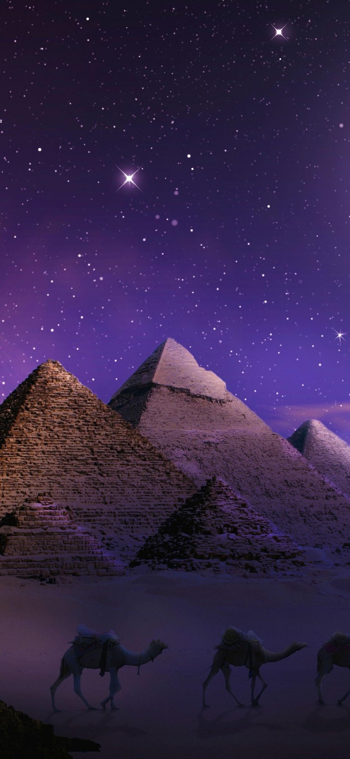 Download 1125x2436 Wallpaper Photoshop Pyramids Egypt