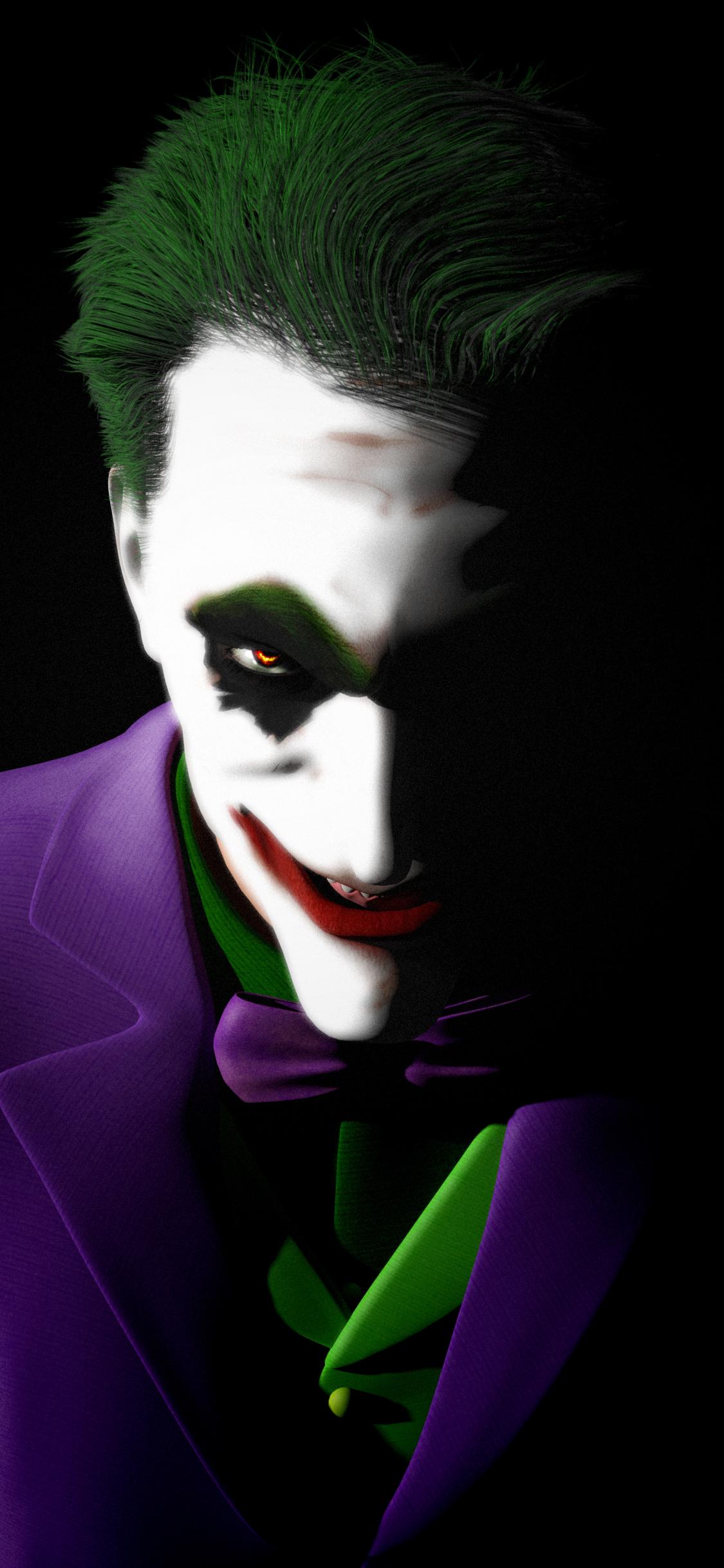 Download 1125x2436 Wallpaper Joker Artwork Dark Super Villain
