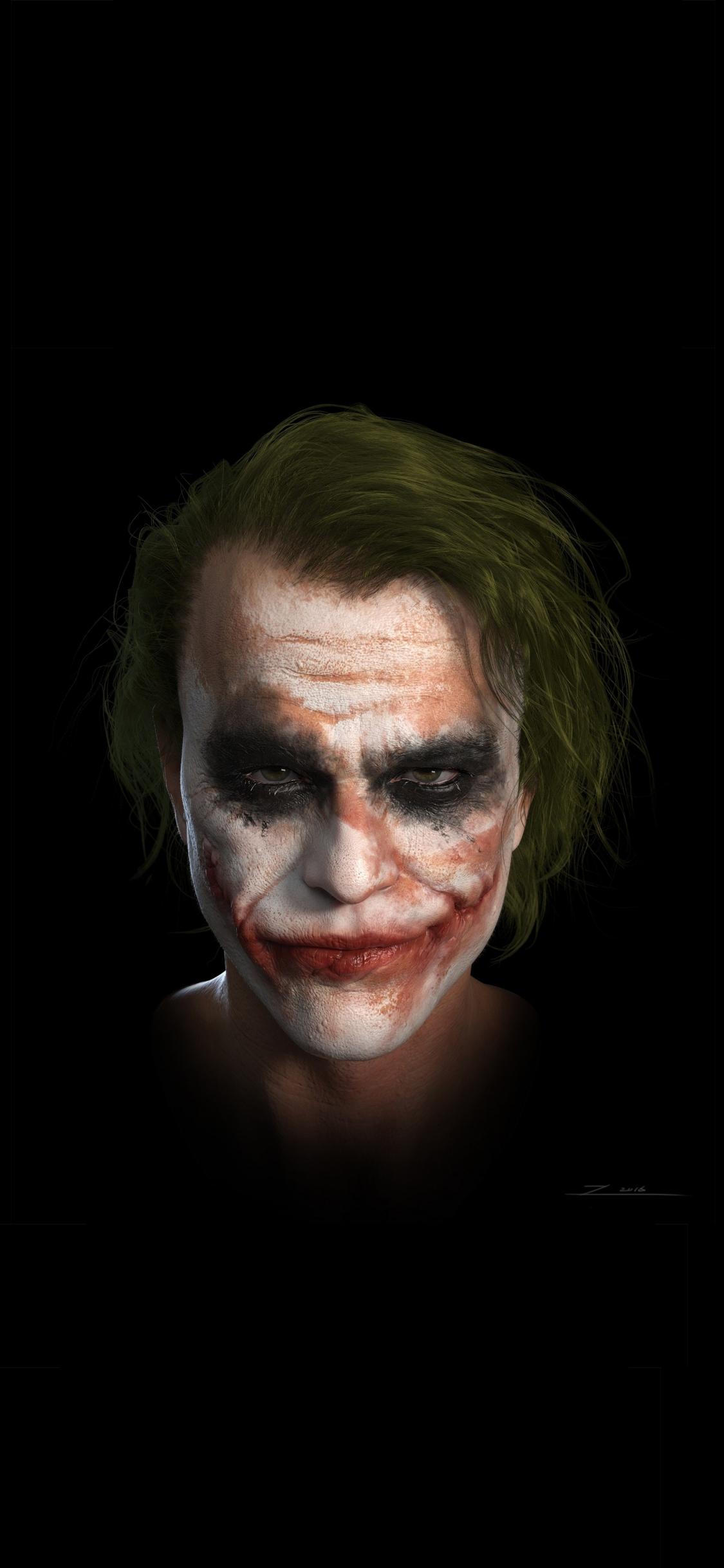 Download 1125x2436 Wallpaper Joker Heath Ledger Dc Studio