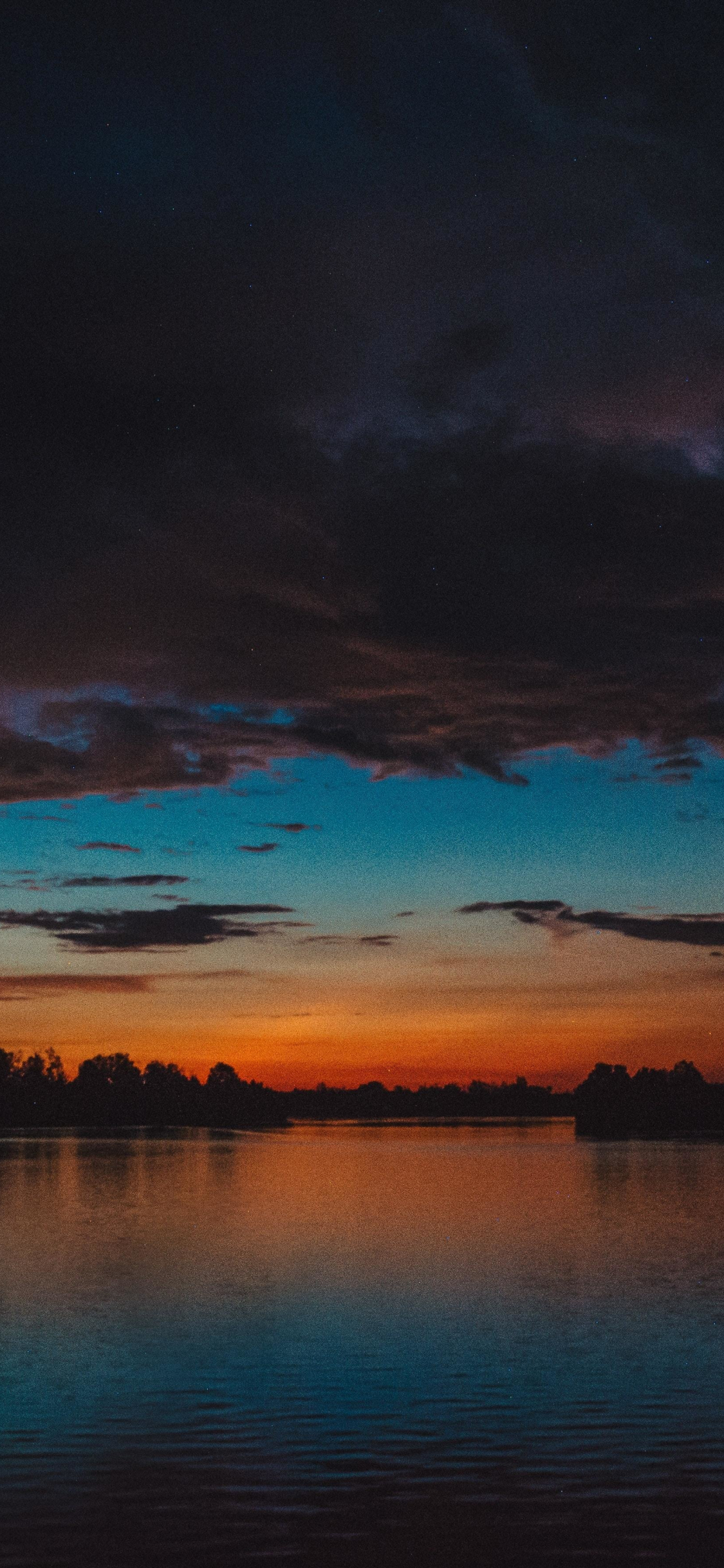 Download 1125x2436 Wallpaper Lake Clouds Sunset Dark Iphone X 1125x2436 Hd Image Background 18005