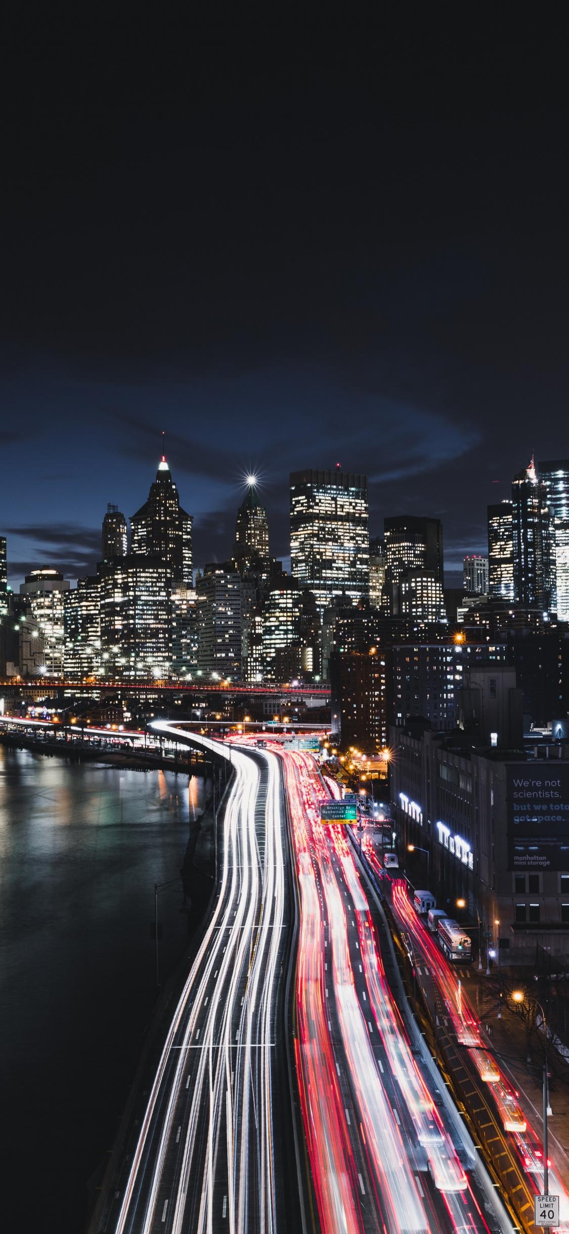 Download 1125x2436 Wallpaper New York City Night Road