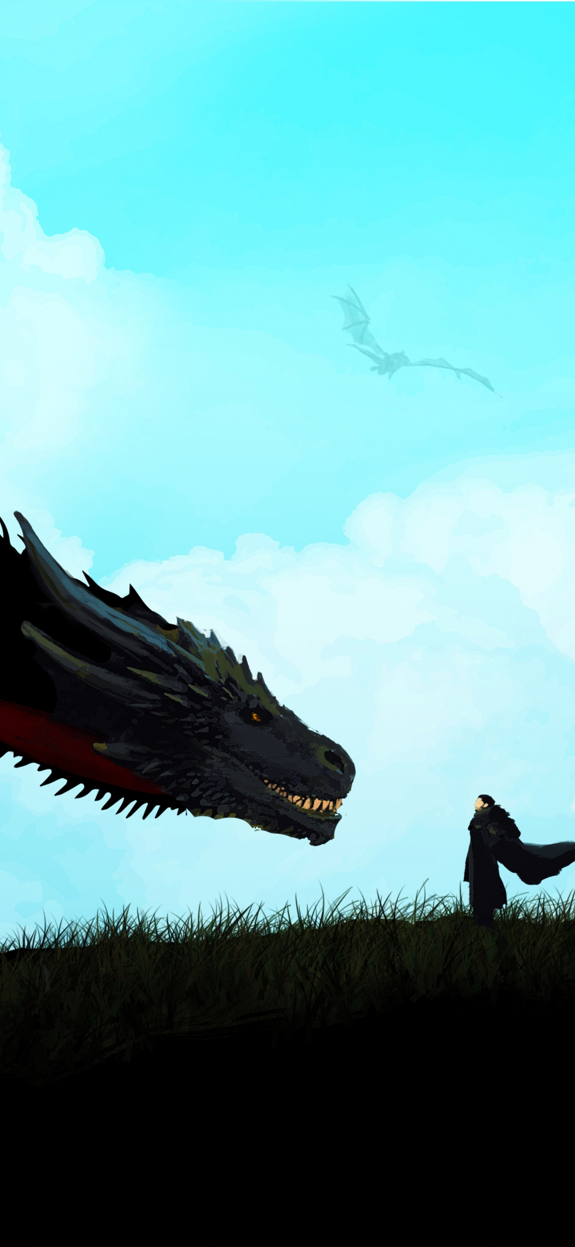 Download 1125x2436 Wallpaper Jon Snow And Dragon Game Of Thrones