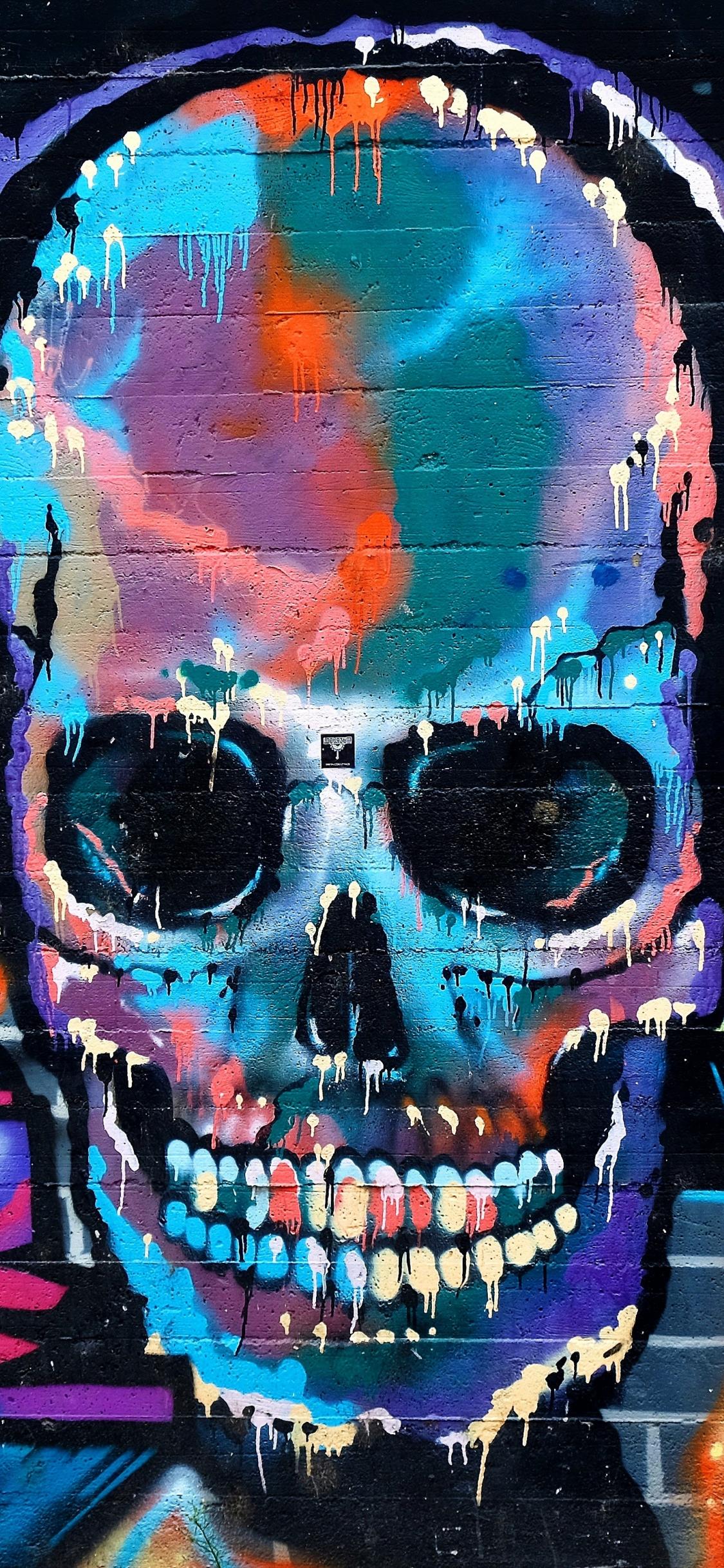 Graffiti skull colorful street art 1125x2436 wallpaper